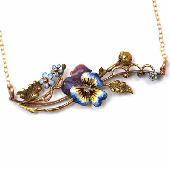 14k Springtime Pansy Necklace