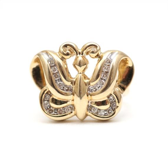 Chunky Diamond Art Deco Butterfly Ring
