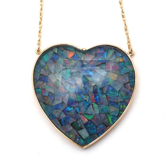 Massive 14k Opal Heart Necklace