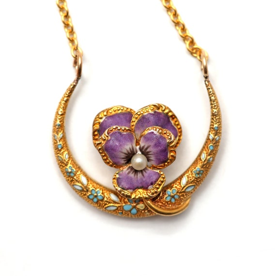 14k Enamel Honeymoon Pansy Necklace
