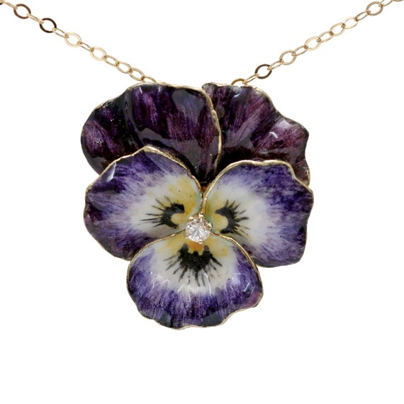 14k Purple Pansy Slide Pendant