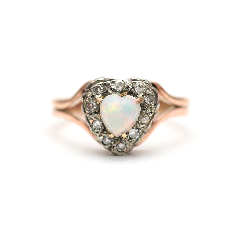 934ffe353d4e9 9k Opal Heart and Diamond Ring