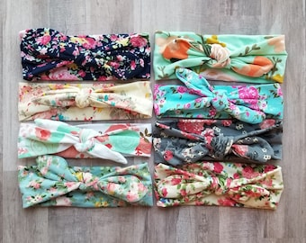 4 Top Knot Headbands, Baby Headband, floral baby headwrap, baby shower gift, Floral Headband, baby girl gift, girls turban, knotted headwrap