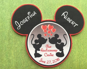 Disney Cruise Door Magnet - Mickey Mouse Magnet - Anniversary Magnet - Mickey and Minnie Kissing Magnet - Mickey Anniversary Magnet