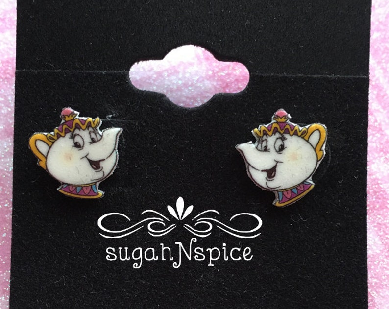 7dc747b80 Mrs. Potts Earrings Beauty and the Beast Earrings Teapot | Etsy