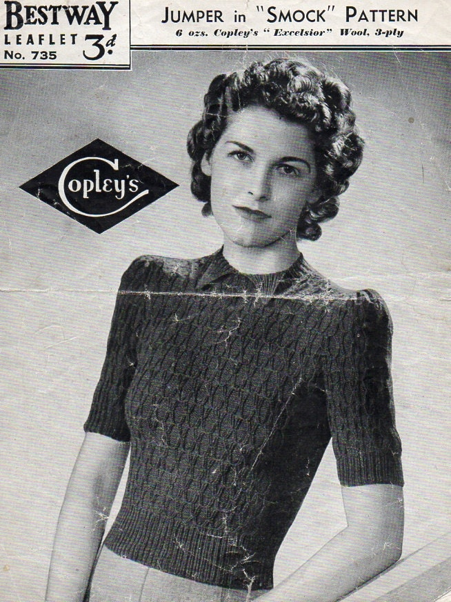 1940\'s Bestway 735 PDF Knitting Pattern Vintage Jumper