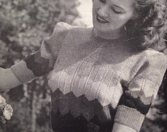 Home Fires 1940's P&B 182 PDF Knitting Pattern for a Pretty Jumper with Stripes - Wavy Jumper - Make Do and Mend - Wartime Sweater
