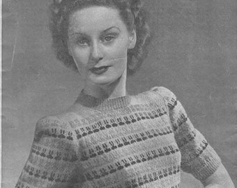 Home Fires 1940's Weldons 528 Knitting Pattern PDF for a Pretty Fair Isle Jumper - Make Do and Mend - Wartime Sweater