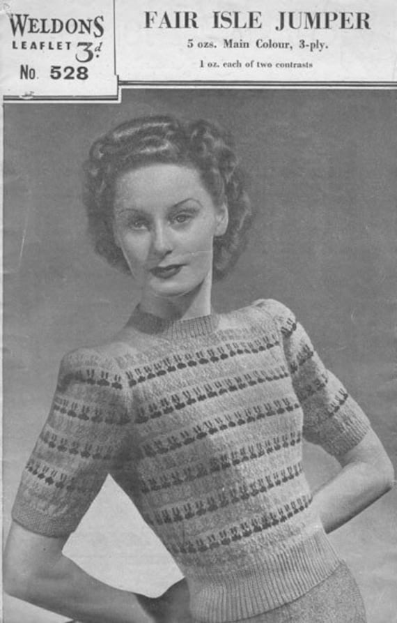 Home Fires 1940 S Weldons 528 Knitting Pattern Pdf For A Etsy