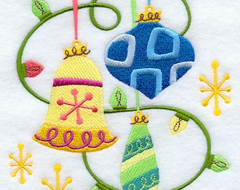 Gilded Yule Ornaments Embroidered flour sack tea towel /dish