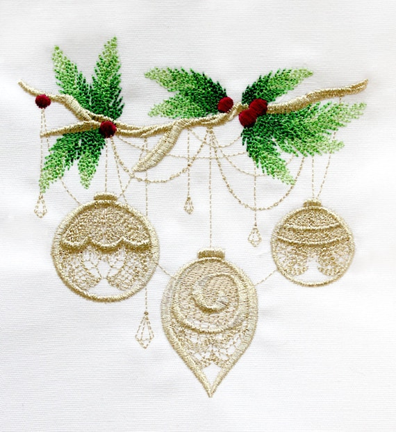 Gilded Yule - Ornaments Embroidered flour sack tea towel /dish towel