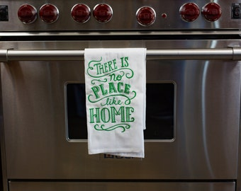 There is no place like home Embroidered Flour Sack Hand/Dish Towel, no place like home, saying towel, wizard of oz towel,yellow brick road,