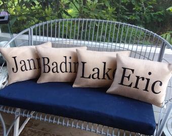 Custom Family burlap name pillow covers farmhouse style