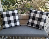Buffalo Check plaid Outdoor Throw pillows Farmhouse Style Rustic Checked fall Decor accent Gingham Black and White Front porch entryway