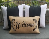 Welcome outdoor throw pillow porch decor modern Farmhouse style New home gift house Burlap Custom front door bench rockers chair entryway