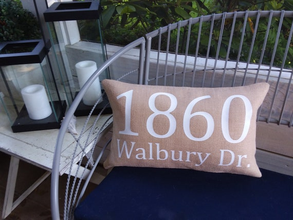 Magnificent Farmhouse Decor Style Burlap Outdoor Address Porch Pillow Front Door Entryway Bench Welcome Home Personalized Name Letter Rustic Style Uwap Interior Chair Design Uwaporg