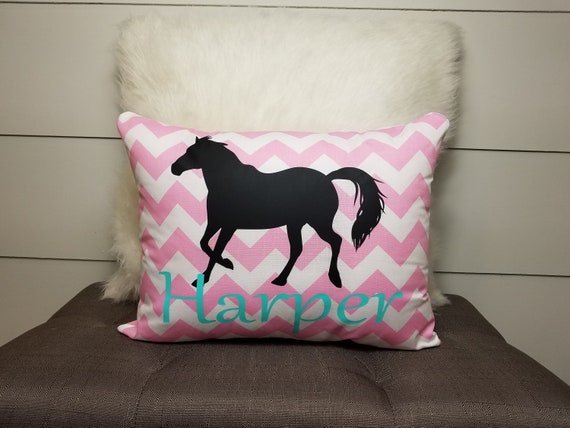 Personalized Girls Horse Gift Room Decor Pillow Cover Equestrian Teen Tween Room Bedroom Decor Monogrammed Name Birthday Letter Riding