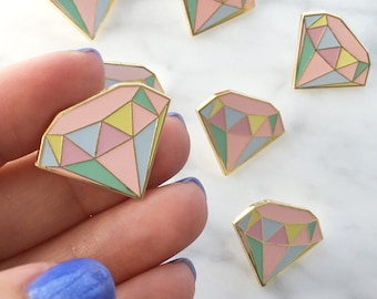 Diamond Enamel Pin, Flair – Lapel, Hard Enamel – Pastel & Gold