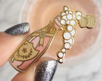 Rose Champagne Pin, Flair – Lapel Pin, Pastel Pink - Blush & Gold Hard Enamel, Bubbly, Wildflower + Co. Valentines Day Gift