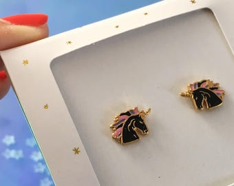 Black Unicorn Earrings | Unicorn Stud Earrings |  Unicorn Studs | Dainty Gold Studs | Cute Earrings | Aesthetic Earrings | Jewelry Gift
