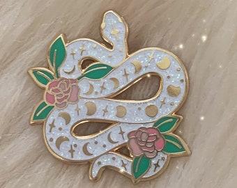 Serpent Enamel Pin - White Gold Glitter Snake Hard Enamel Lapel Pin - Magical w. Moon Phases & Flowers - Wildflower + Co.