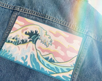 Wave XL Back Patch - Patches for Jackets, Embroidered Iron On, Ocean Iron On Patch - Sea - Beach - Surf - Embroidered - Coconut Girl
