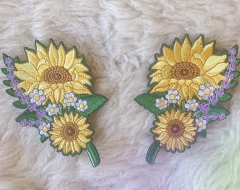Lavender Beaded Daisy Iron On Patch Flowers Daisies