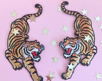 Tiger Patch - Iron On Embroidered Patches - Climbing Tigers - Set or Individually Sold - Wildflower + Co.