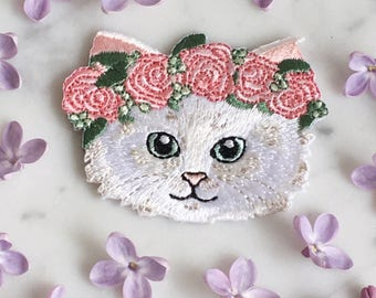 Kitten Patch - Cat Patch - Iron-On - Embroidered Applique - Fluffy White Kitten w/ Pink Boho Flower Crown - Wildflower + Co.