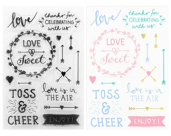 DIY Wedding Favors Clear Stamps Collection – DIY Favors – Love is Sweet – Toss & Cheer Confetti – Love is in the Air Bubbles +!