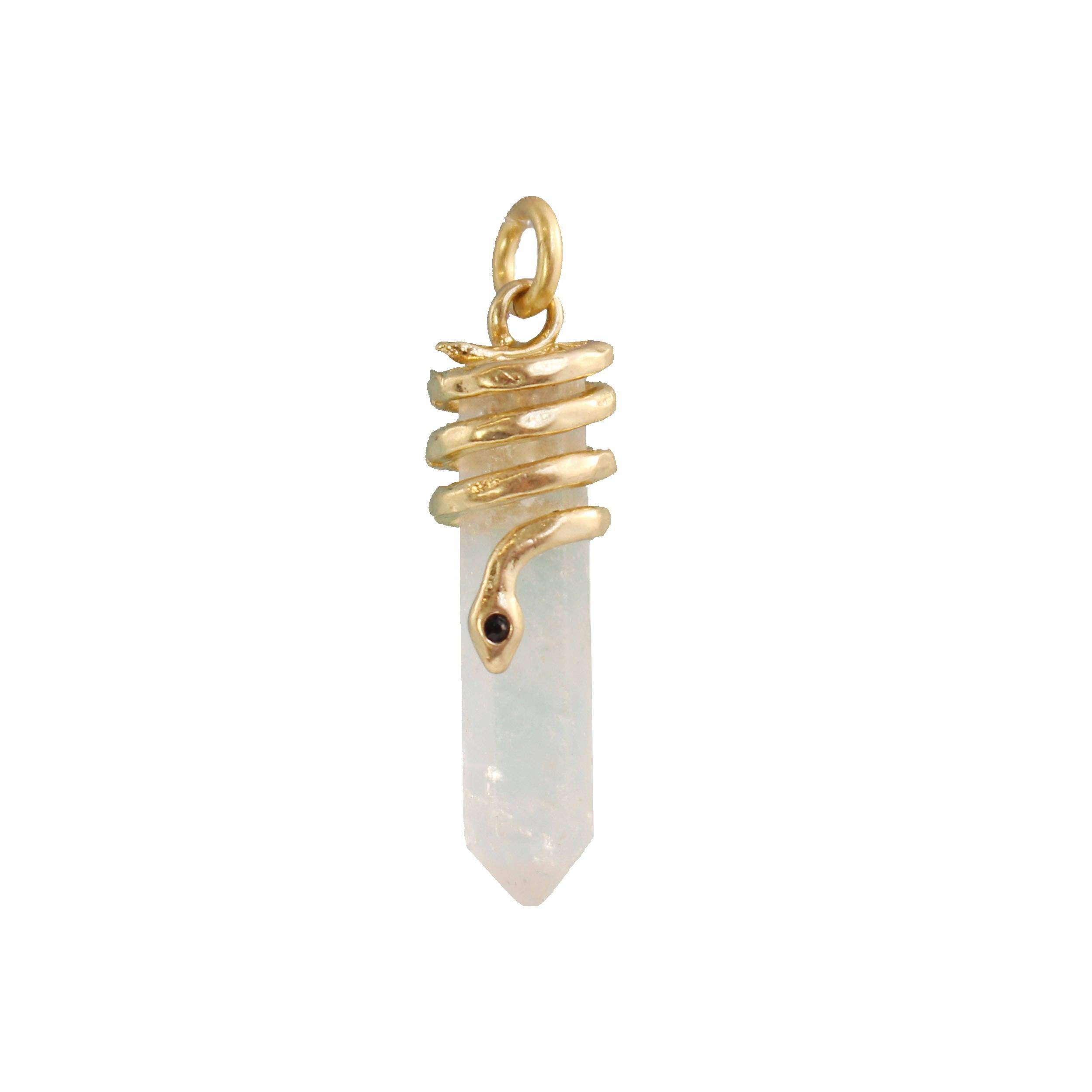 serpent de cristal charme pendentif quartz clair or etsy. Black Bedroom Furniture Sets. Home Design Ideas