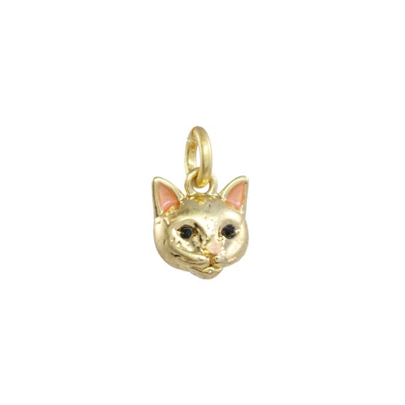 30884dcf0cf4 Kitten Charm Pendant Dainty Gold Tiny   Adorable