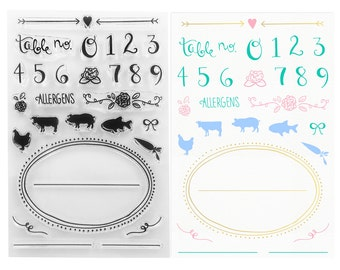Clear Stamps – Place, Seating & Buffet Cards - Perfect for DIY Weddings, Dinner Parties, Foodies