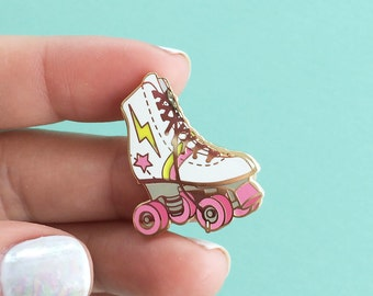Roller Skate Enamel Pin, Flair – Lapel, Hard Enamel – Roller Derby Girl – Gold, White, Pink
