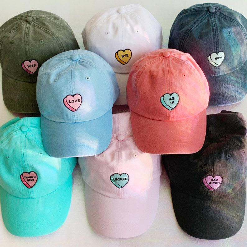 f1103a3d7 Baseball Hat - Candy Heart - As If - Thank U Next - Love - Bad Bitch - Bye  - Nah - Bored - WTF - Dad Hat Cap -Choose Color Wildflower + Co.