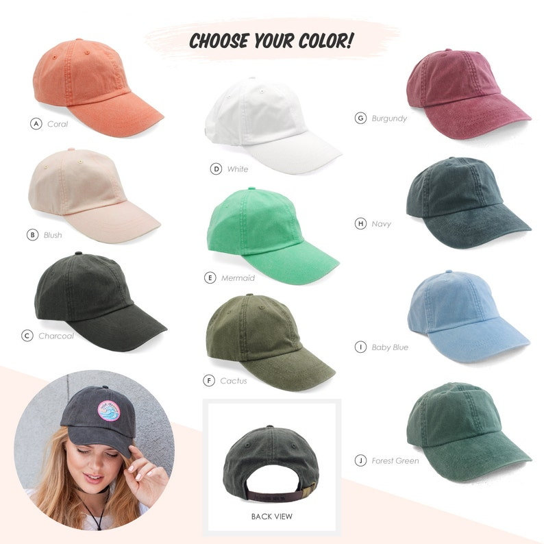 Baseball Hat with Embroidered Patch - Your Choice of Patch & Cap Color! Dad  Hat - Wildflower + Co