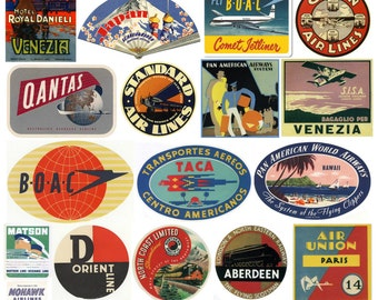 Vintage Hotel Luggage Label Stickers - Pack of 25 Suitcase Travel Stickers
