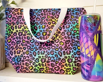 Lisa Frank Inspired Lunch Set/Rainbow Lunch Tote/Insulated Lunch Tote