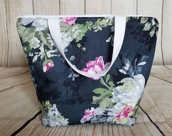 Floral Lunch Tote/Adult Lunch Bag/Lunch Bag/Work Lunch Bag
