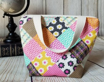 Kids Lunch Tote/Patchwork Lunch Tote/Girls Lunch Bag/School Lunch Bag