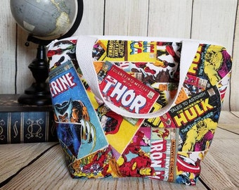 Superhero Lunch Tote/Boys Lunch Bag/Kids Lunch Tote/School Lunch Tote