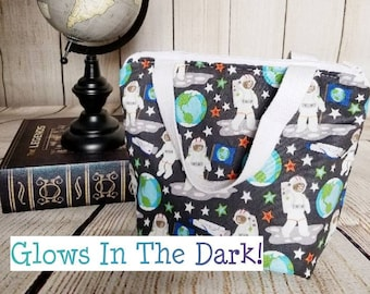 Kids Lunch Tote/Kids Lunch Bag/Astronaut Lunch Tote/Space Lunch Bag/Kids Lunch Bag/Glow In The Dark Lunch Tote