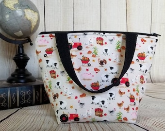 Farm Kids Lunch Tote/Insulated Lunch Bag/Kids Lunch Tote