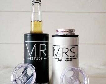 Wedding Gift/Just Married Gift/Slim Can Holder/Beer Bottle Holder