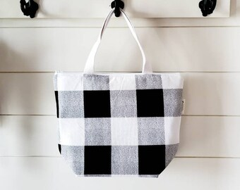 Buffalo Plaid Lunch Tote/Adult Lunch Tote/Black Lunch Tote/Lunch Bag/Insulated Lunch Tote