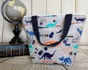 Dinosaur Kids Lunch Tote/Insulated Kids Lunch Tote/Kids Lunch Bag