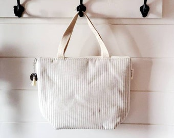 Adult Lunch Tote/Insulated Lunch Tote/Striped Lunch Tote/Lunch Bag