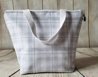 Insulated Lunch Tote/Lunch Bag/Lunch Tote/Grey Lunch Tote