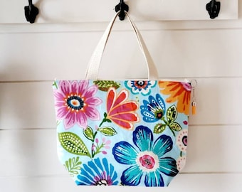 Floral Lunch Tote/Insulated Lunch Tote/Lunch Bag/Flower Lunch Bag
