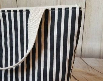 Striped Lunch Tote/Adult Lunch Tote/Lunch Bag/Insulated Lunch Tote/Work Lunch Tote